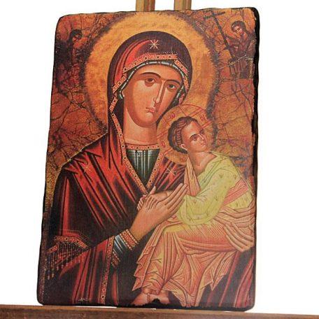 Χειροποίητη ξύλινη εικόνα Παναγίας σε παλιό στυλ