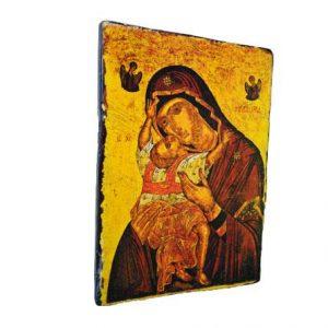 Παναγία η Καρδιώτισσα σε παλιό ξύλο