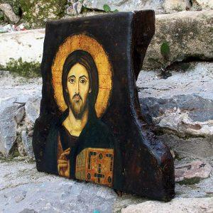 Εικόνα Χριστού  Παντοκράτορα του Σινά σε κορμό