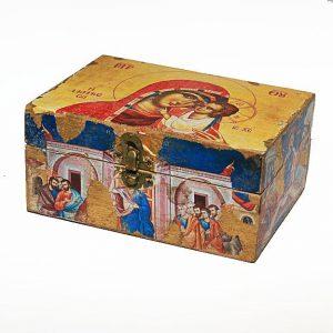 Χειροποίητο  ξύλινο κουτάκι Παναγίας
