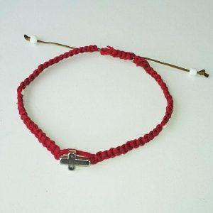 Χειροποίητο πλεκτό βραχιόλι κόκκινο B-110
