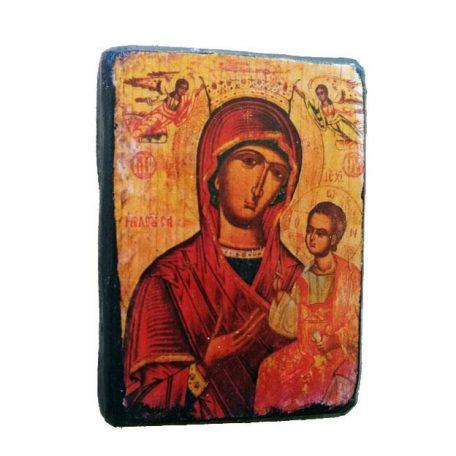 Ξύλινη παλαιωμενη εικόνα Παναγίας Της Ελεούσας