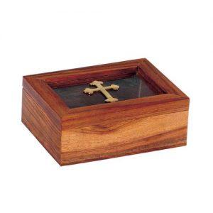 Κουτάκι ξύλινο με γυάλινο καπάκι 8 x 11 x 6cm