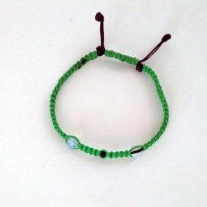 Χειροποίητο πλεκτό βραχιόλι πράσινο με  φεγγαρόπετρα  B-221