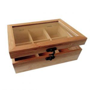 Κουτάκι ξύλινομε έξη χωρίσματακαιμε διάφανο καπάκι διαστάσεων 21x16x7cm