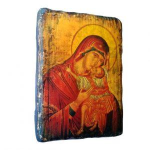 Παλαιωμένη μικρή εικόνα Παναγίας  Καρδιώτισσας