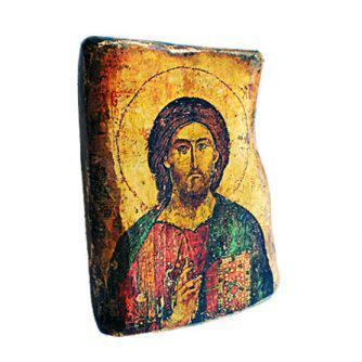 Εικονα Χριστού σε ξύλο ελιάς και φύλλα χρυσού